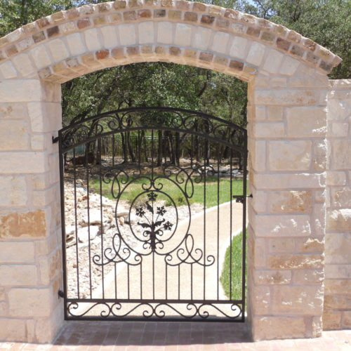 12_Iron Scroll Walk Gate w Masonry