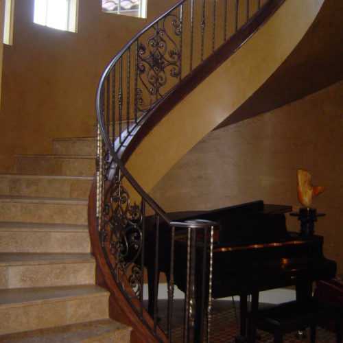 12b_Custom Scroll Embossed Picket Staircase
