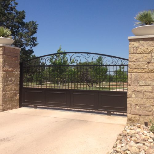 14_Custom Iron Slide Gate w Scrolls