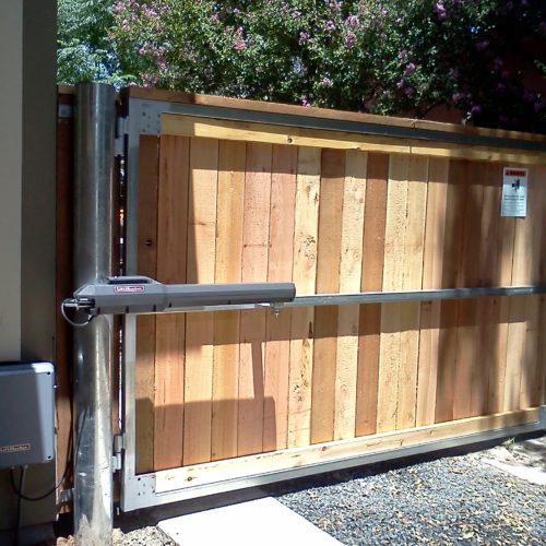 18b_Wood Swing Gate Steel Frame w Operator
