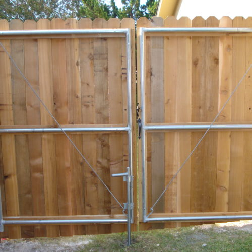 19_Wood on Steel Frame Double Drive Gate