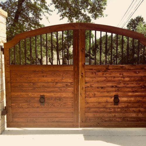 2b_Wood Iron Driveway Gate