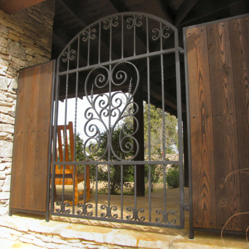 8_Porch Iron Gate with Wood Panels